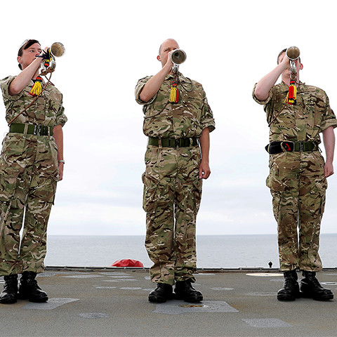 Buglers playing on deck, Armed services music training