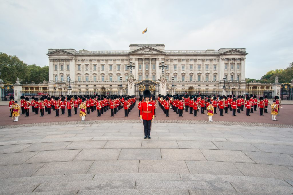 Outside Buckingham Palace, queens birthday parade