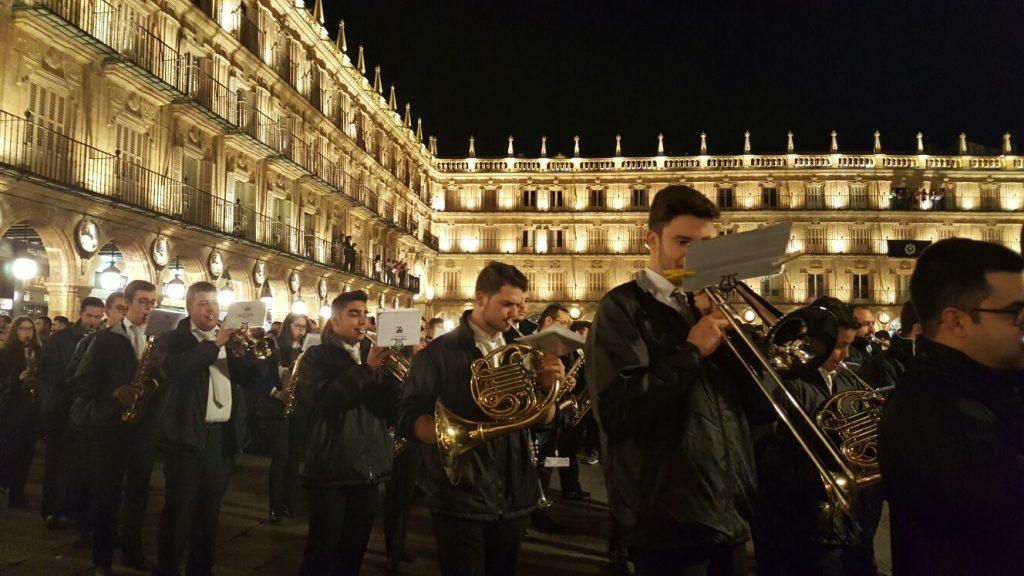 Banda de Música de Alba de Tormes in Plaza Mayor for Semana Santa (photo property of  Banda de Música de Alba de Tormes)