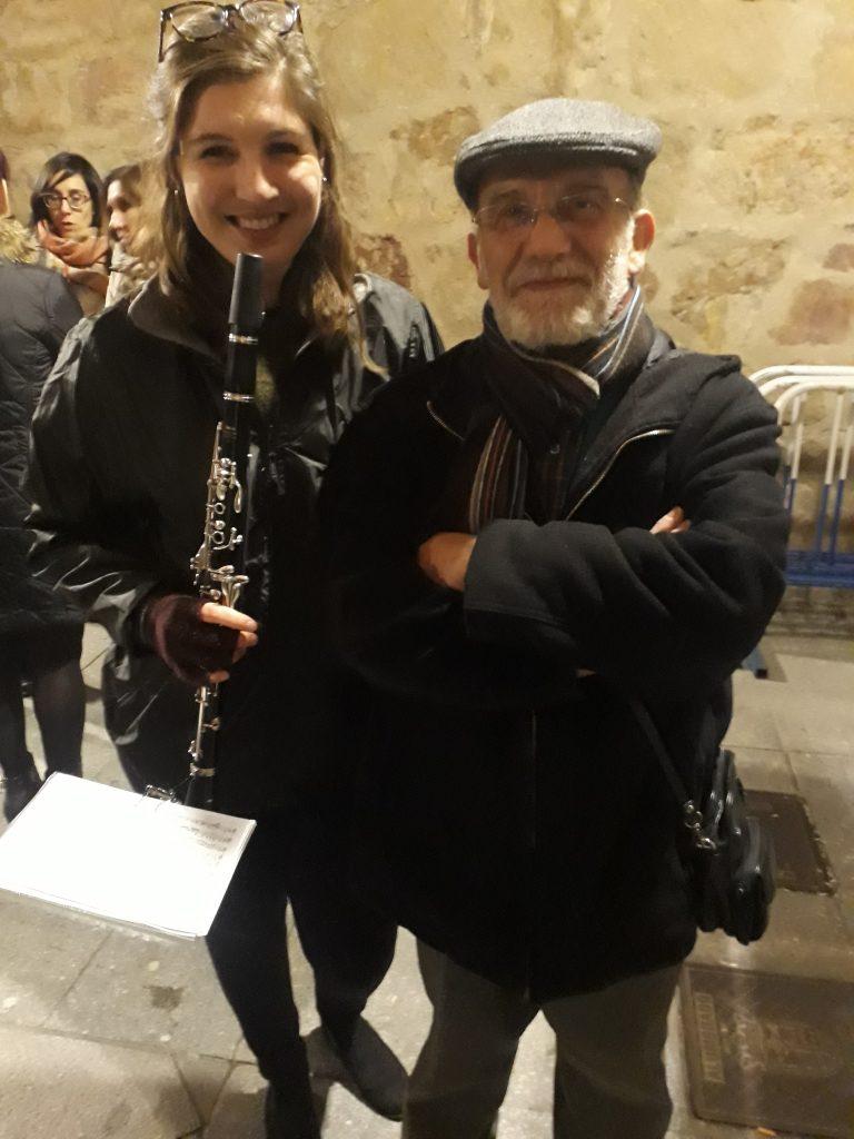 Hannah's after her first Semana Santa Procession, with Fernando García  (photograph property of Hannah Williams)