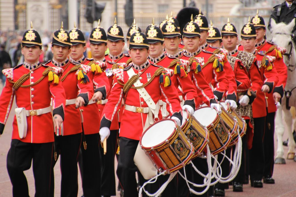 percussionists with painted side drums