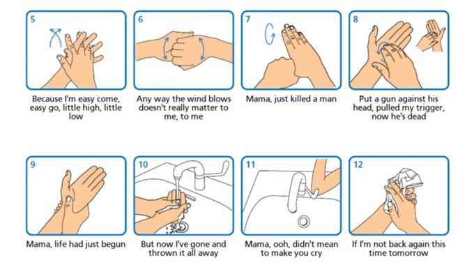 hand washing directions set to the tune of 'Bohemium Rhapsody' by Queen - keeping you and your instrument healthy