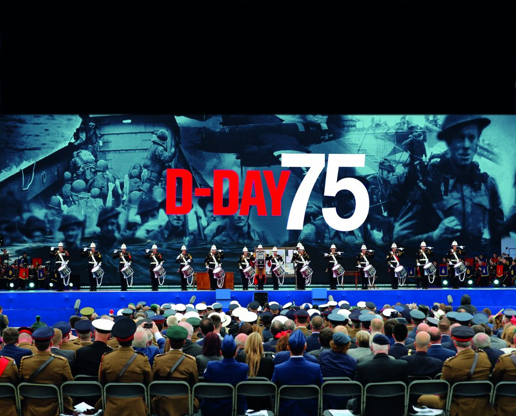 Stu's first gig after 3 years, The Royal Marines Corps of Drums performing at The 75th D-Day Commemoration on National TV.