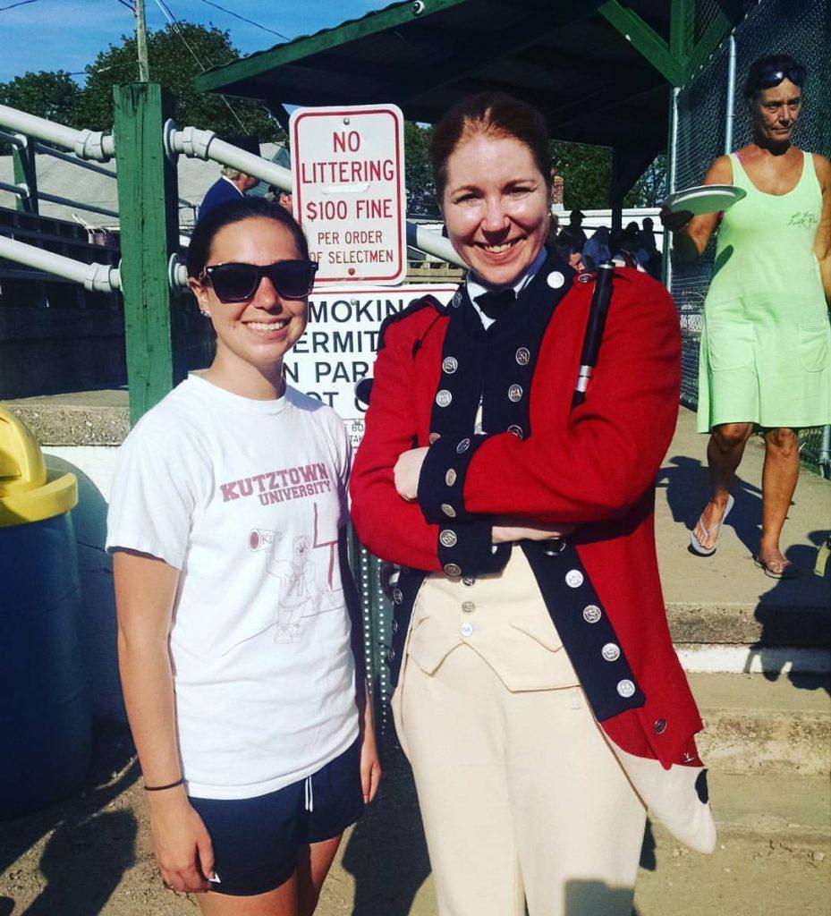 Katie Long meeting Old Guard Member.