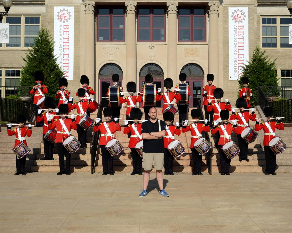 Stu Warmington with The Liberty High School Grenadier Band Corps of Drums