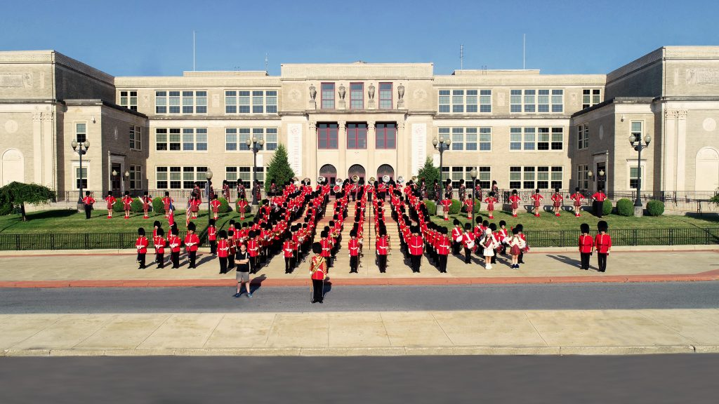Stu Warmington with The Liberty High School Grenadier Band