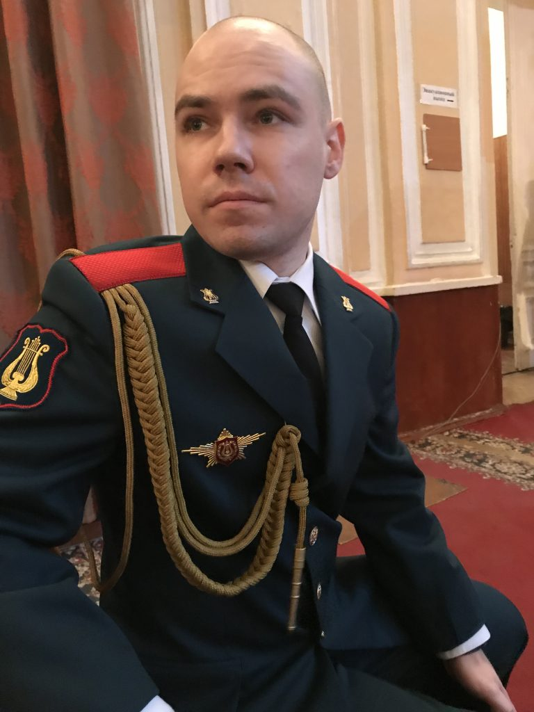 Andrei Podolianets in uniform of the Military Academy of the Signal Corps Band in 2017