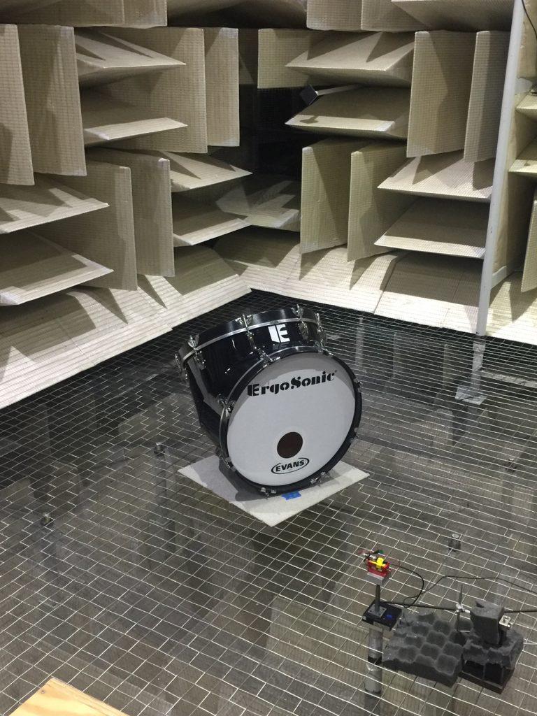 ErgoSonic Angled Shell Marching Bass Drum in Binghamton Universities Anechoic Testing