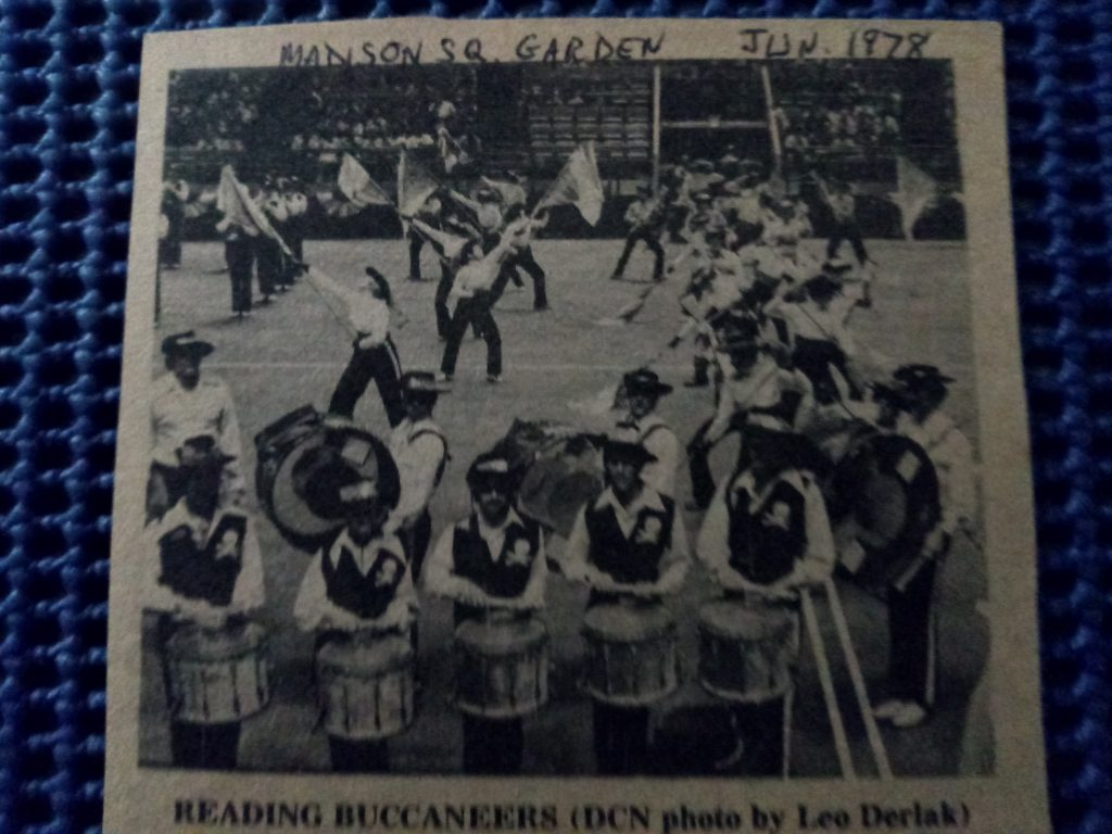 Rex competing at Madison Square Garden with the Reading Buccaneers Drum and Bugle Corps in 1978 (photograph property of Rex Jamieson)