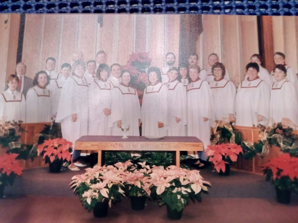 Rex (back, left) singing with his Church Choir in 1996 (photograph property of Rex Jamieson)