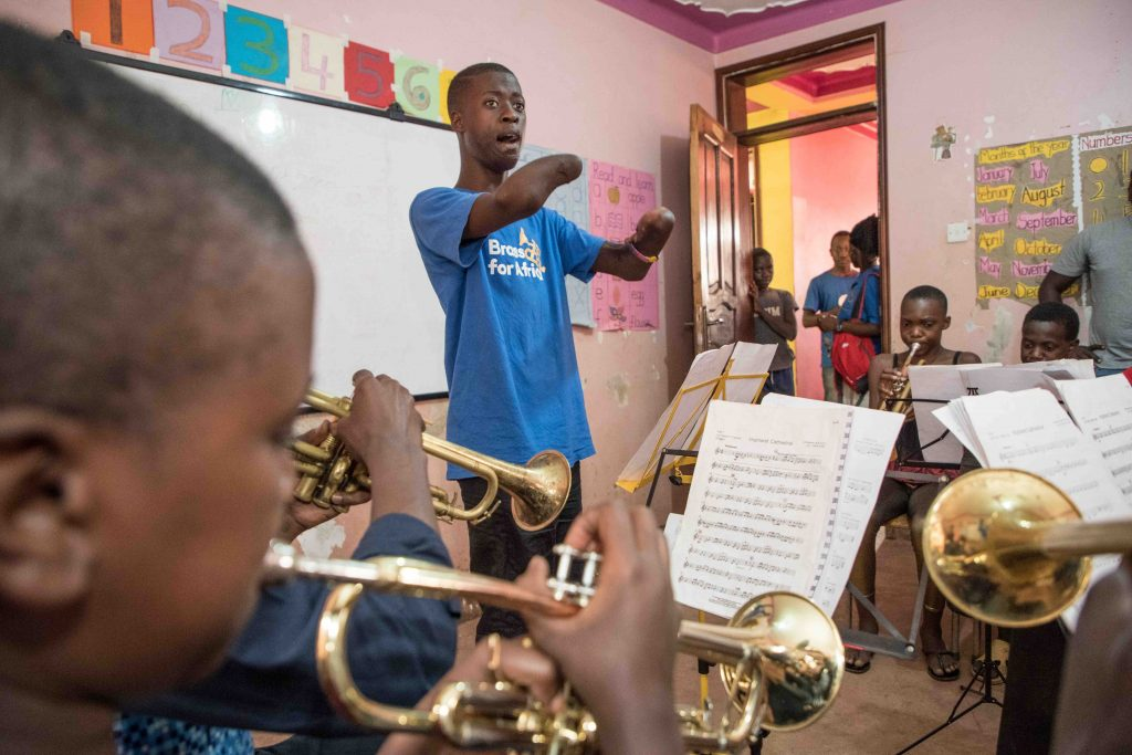 Tadeo conducting a Brass for Africa lesson