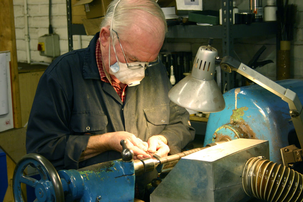 Duncan Campbell working on R. G. Hardie & Co bagpipes [photo property of Alastair Dunn]
